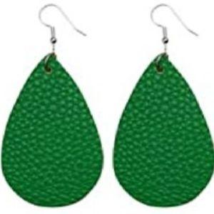 BOGO Green Faux Leather Earrings